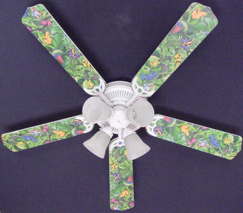 "Tropical Rainforest Frogs Frog Ceiling Fan 52"" 1"