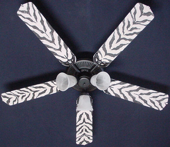 "African Safari Zebra Skin Ceiling Fan 52"" 1"