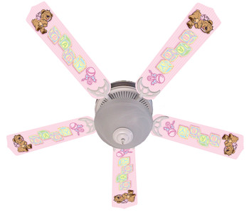 "Baby Nursery Toys Blocks Pink Ceiling Fan 52"" 1"