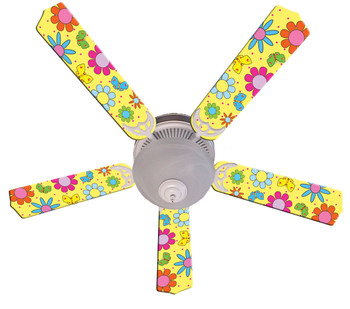 "Flower Power Butterflies Yellow Ceiling Fan 52"" 1"