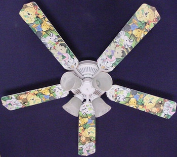 Zootles Baby Animals Jungle Ceiling Fan 52""