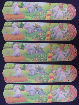 """Winnie Pooh Heffalump Lumpy Eeyore 52"""" Ceiling Fan Blades Only 1"""