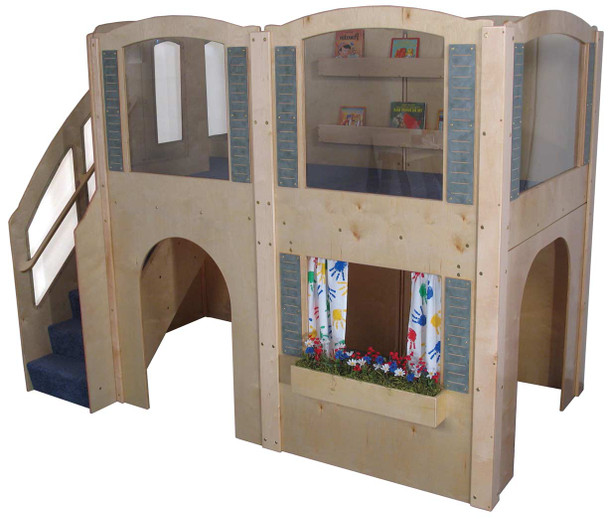 Mainstream Preschool Expedition 15 Wave Play Loft with Blue Carpet & Steps on Left 1