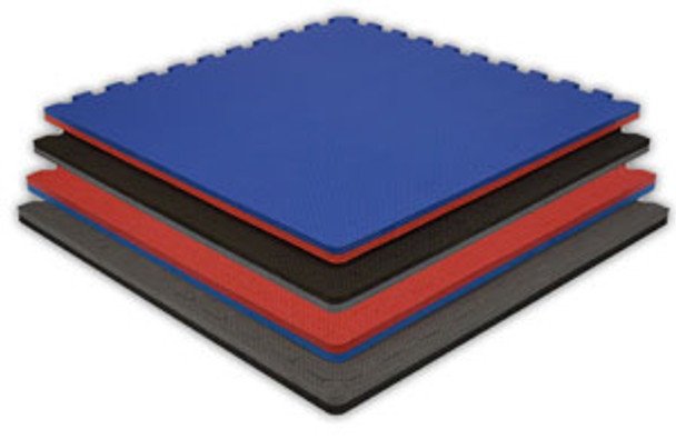 """Jumbo Reversible Soft Floor - 4' x 4' x 7/8"""" with three attached Borders - Quantity 10 1"""