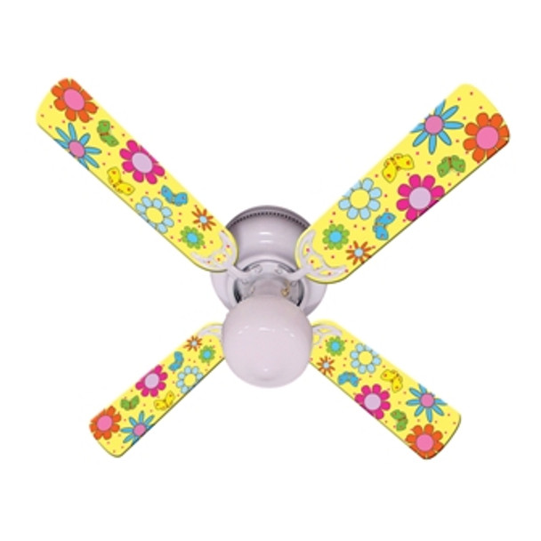 """Flower Power Butterflies Yellow Ceiling Fan 42"""" 1"""