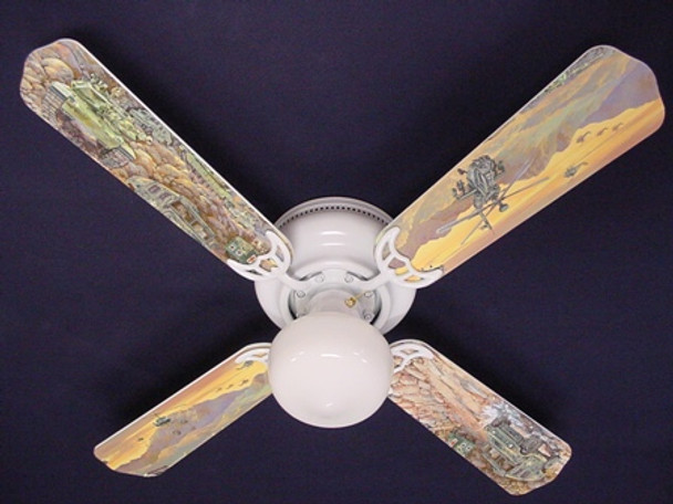 "Army Tanks Military Helicopter Ceiling Fan 42"" 1"
