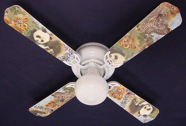 "Baby Safari Elephant Lion Zebra Ceiling Fan 42"" 1"
