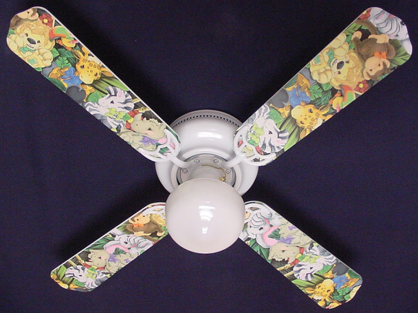 """Zootles Baby Animals Jungle Ceiling Fan 42"""" 1"""