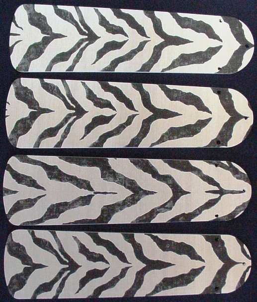 "African Safari Zebra Skin Ceiling Fan 42"" Blades Only 1"