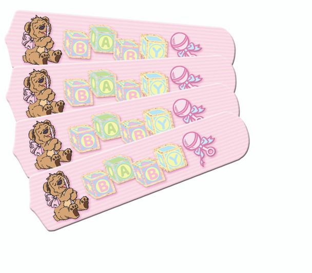 """Baby Nursery Toys Blocks Pink Ceiling Fan 42"""" Blades Only 1"""