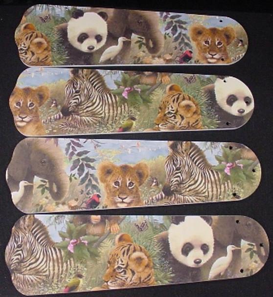 "Baby Safari Elephant Lion Zebra Ceiling Fan 42"" Blades Only 1"