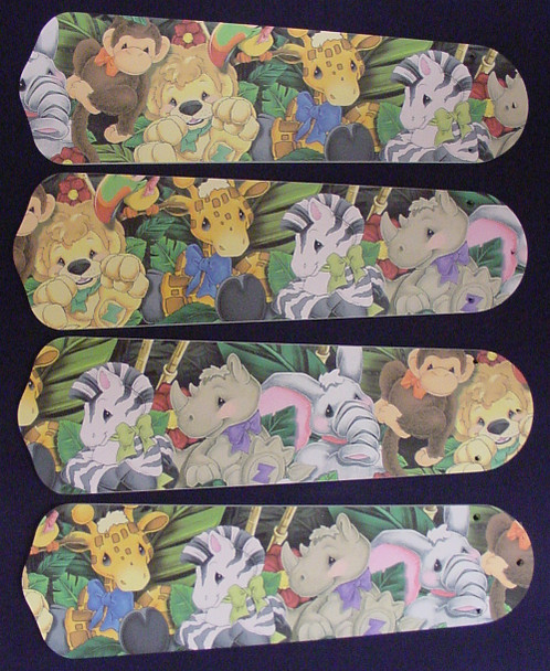 """Zootles Baby Animals Jungle Ceiling Fan 42"""" Blades Only 1"""