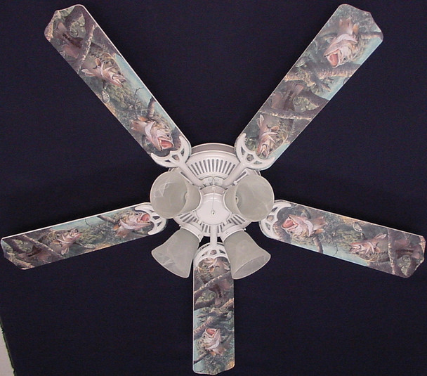 """Large Mouth Bass Fish Ceiling Fan 52"""" 1"""