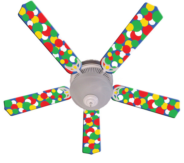 "Kids Light Bright Dots Ceiling Fan 52"" 1"