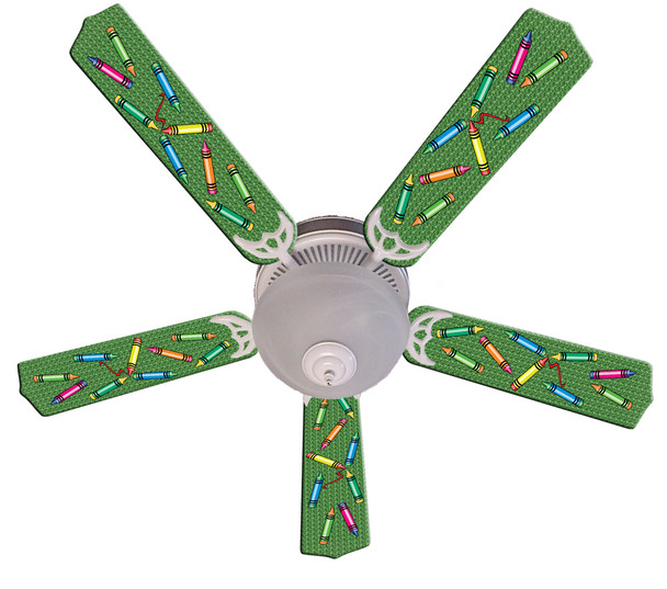 """Kids Colorful Crayons Ceiling Fan 52"""" 1"""