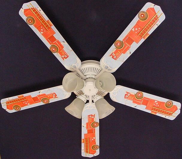 """Dalmations Fire Truck #2 Ceiling Fan 52"""" 1"""