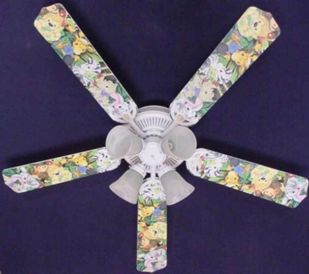 """Zootles Baby Animals Jungle Ceiling Fan 52"""""""