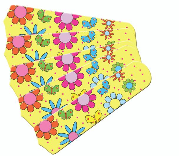 "Flower Power Butterflies Yellow 52"" Ceiling Fan Blades Only 1"