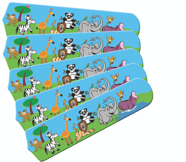 """Jungle Party Animals 52"""" Ceiling Fan Blades Only 1"""