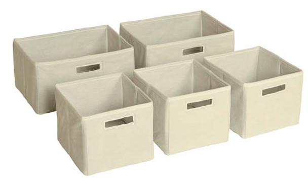 Guidecraft Tan Storage Bins - Set of 5 1