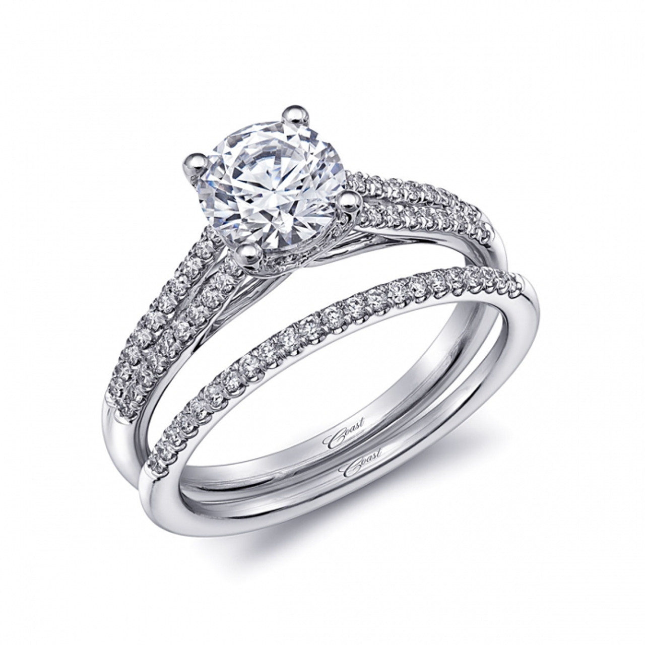 Split Shank Engagement Ring Setting 0 23ctw With Matching Wedding Band