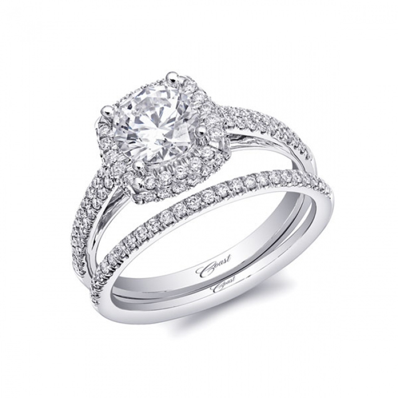 Cushion Double Halo Micro Pave Engagement Ring Setting 038ctw