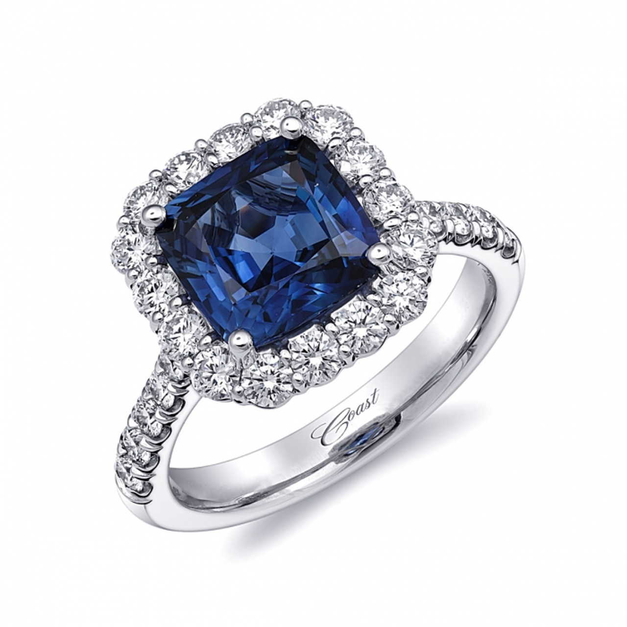 centerstone ring cushion signature sapphire cut color collection diamond