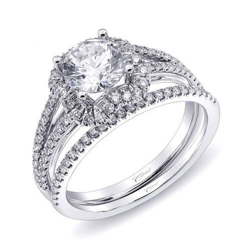 Unique Halo SplitShank Engagement Ring Setting 018ctw with