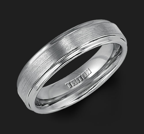 6mm Gray Tungsten Carbide Satin Finish Flat Center With Bright Step Edge Comfort Fit Men S Wedding