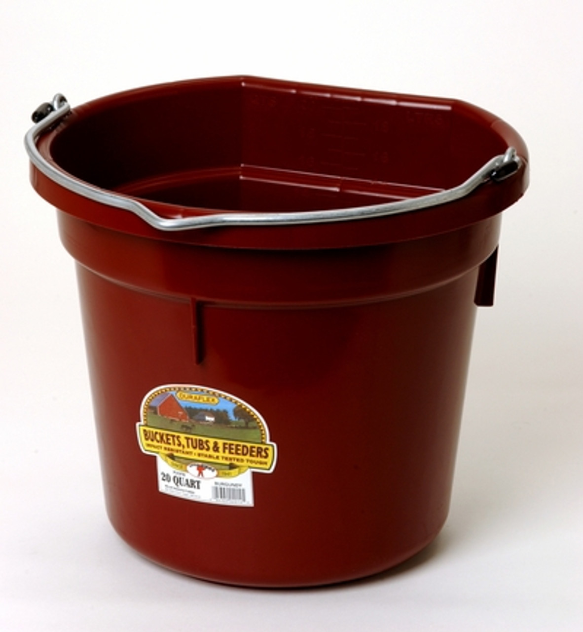 Large Rubber Horse Water Tubs: Miller Flat Back 20 Qt Bucket- Horse Barn Feed Buckets