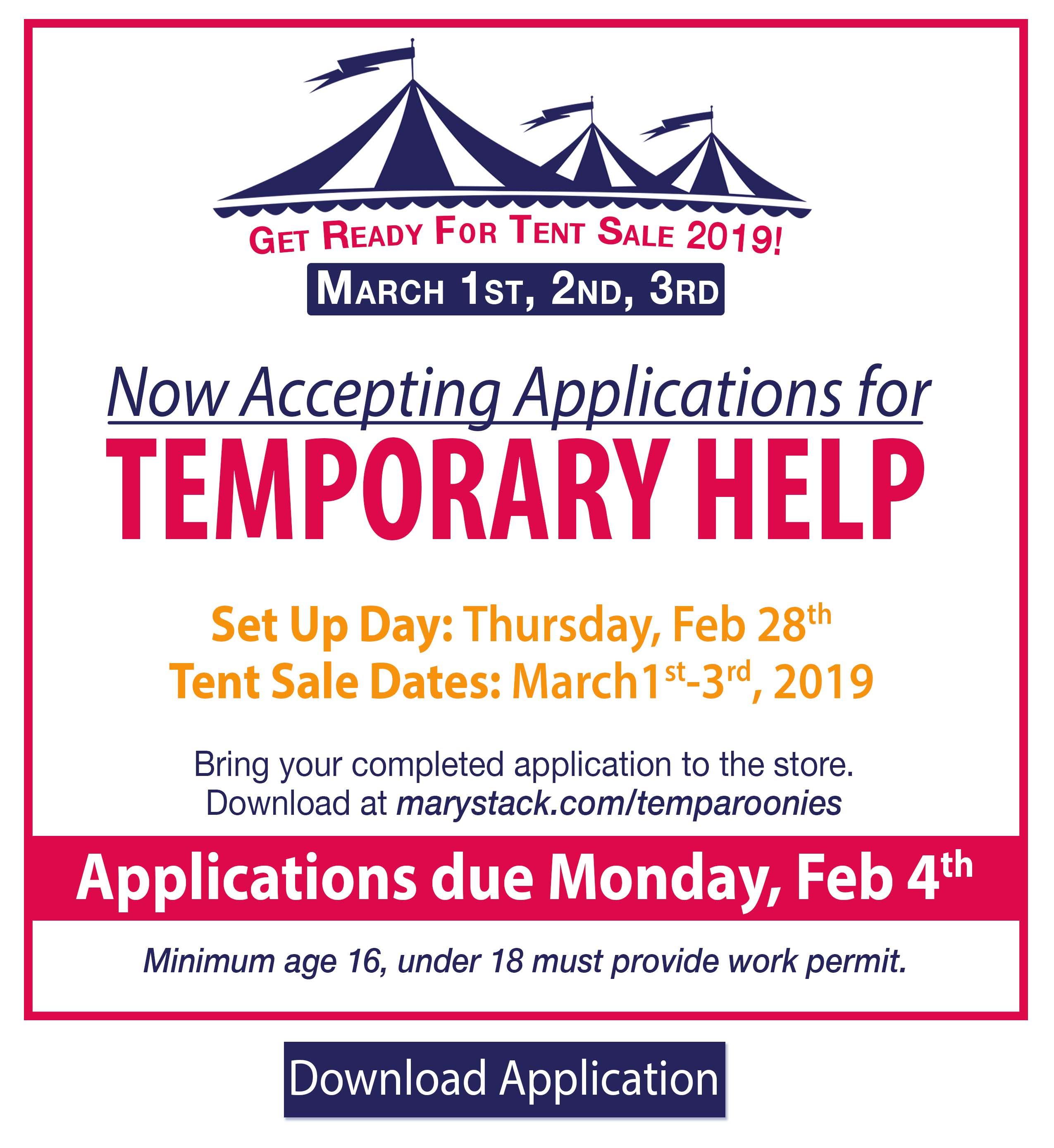 Temp Recruit Tent Sale Applications