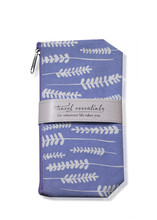 Purple cosmetic bag with white plant design