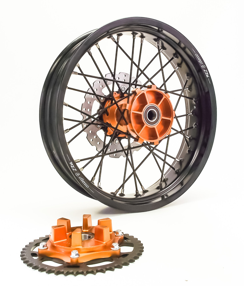 KTM 950/990 Adv Rear Wheel Orange Hub Black Rim Black Spokes Silver Nipples w/Carrier