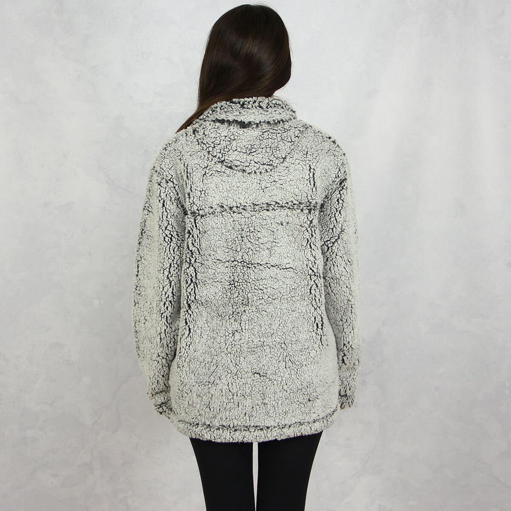 Kappa Alpha Theta Sherpa Quarter Zip Sweatshirt in Gray Back