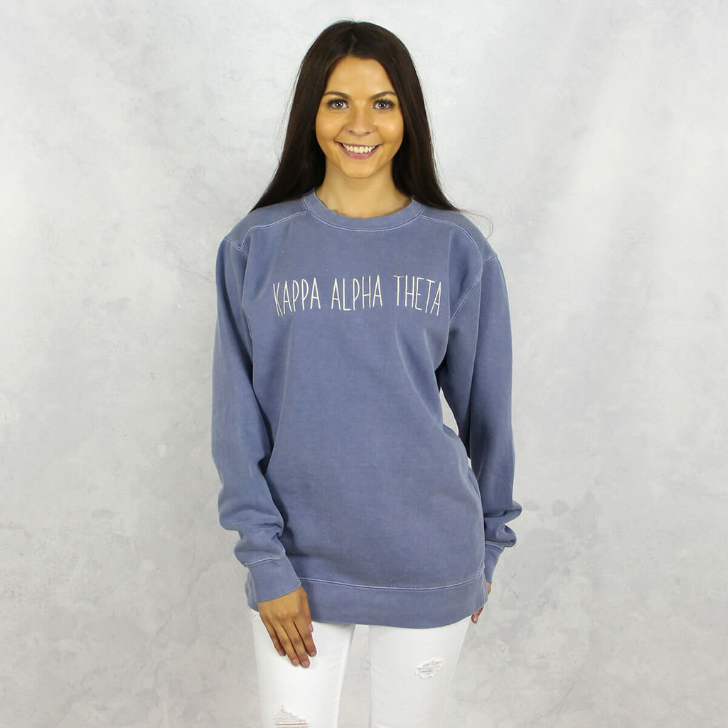 Kappa Alpha Theta Embroidered Sweatshirt in Blue by Comfort Colors