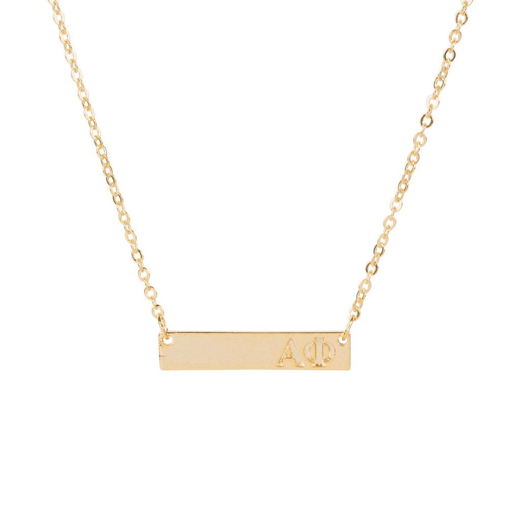 Alpha Phi Gold Bar Necklace