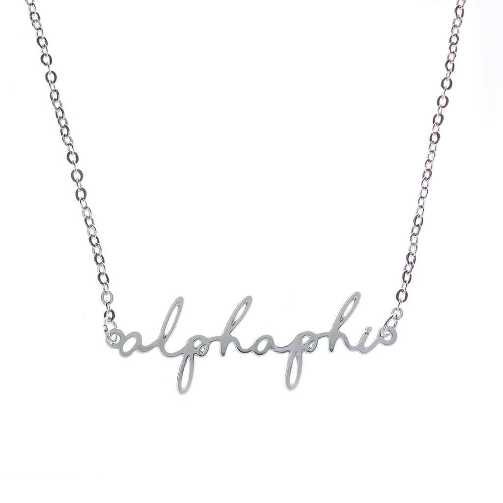 Alpha Phi Silver Script Necklace