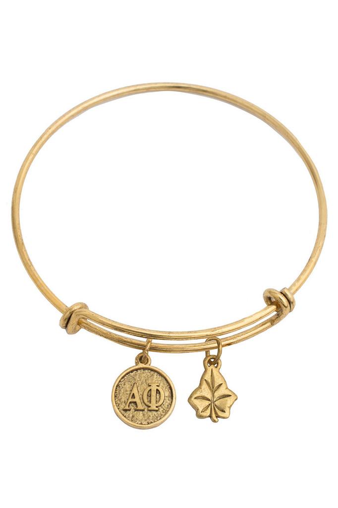 Alpha Phi Expandable Gold Plated Bracelet