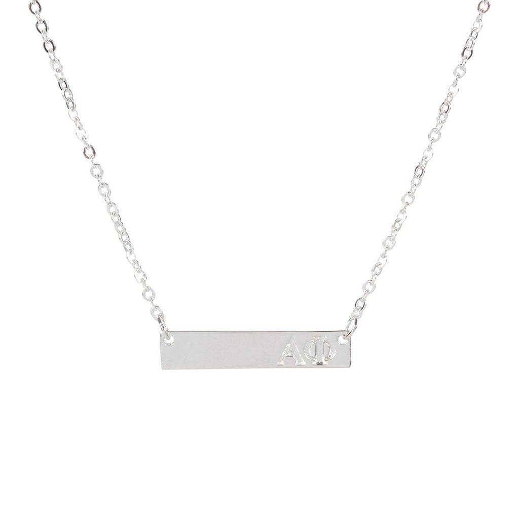 Alpha Phi Silver Bar Necklace