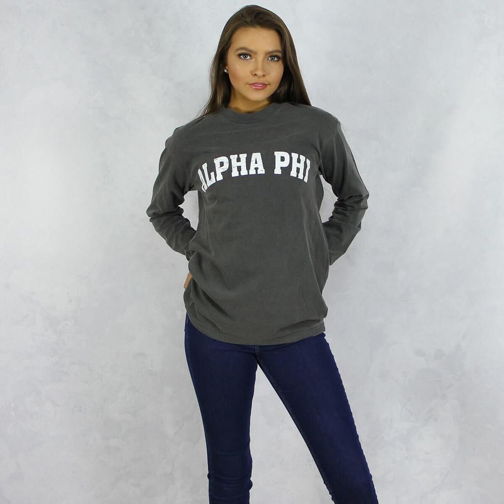 Alpha Phi Comfort Colors Long Sleeve T-Shirt in Dark Gray