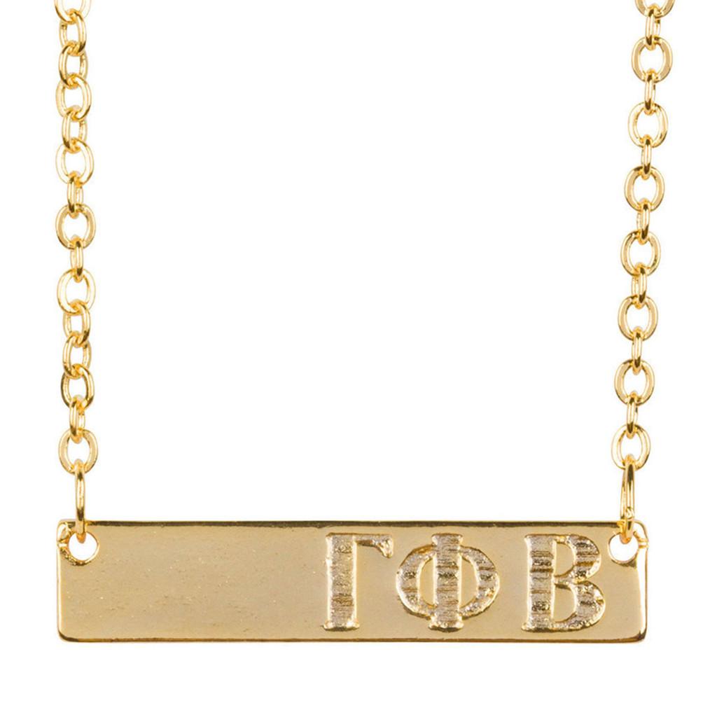 Gamma Phi Beta Gold Bar Necklace