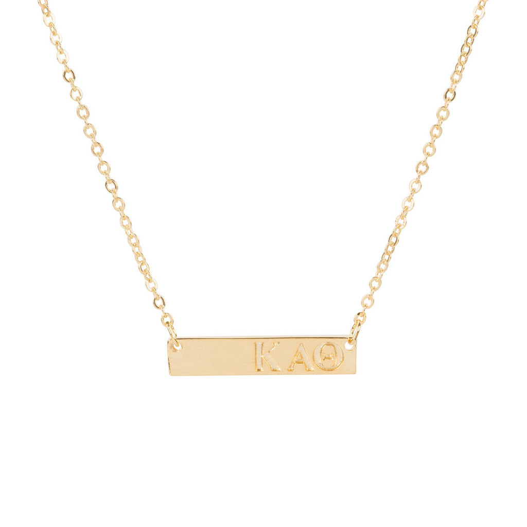 Kappa Alpha Theta Gold Bar Necklace