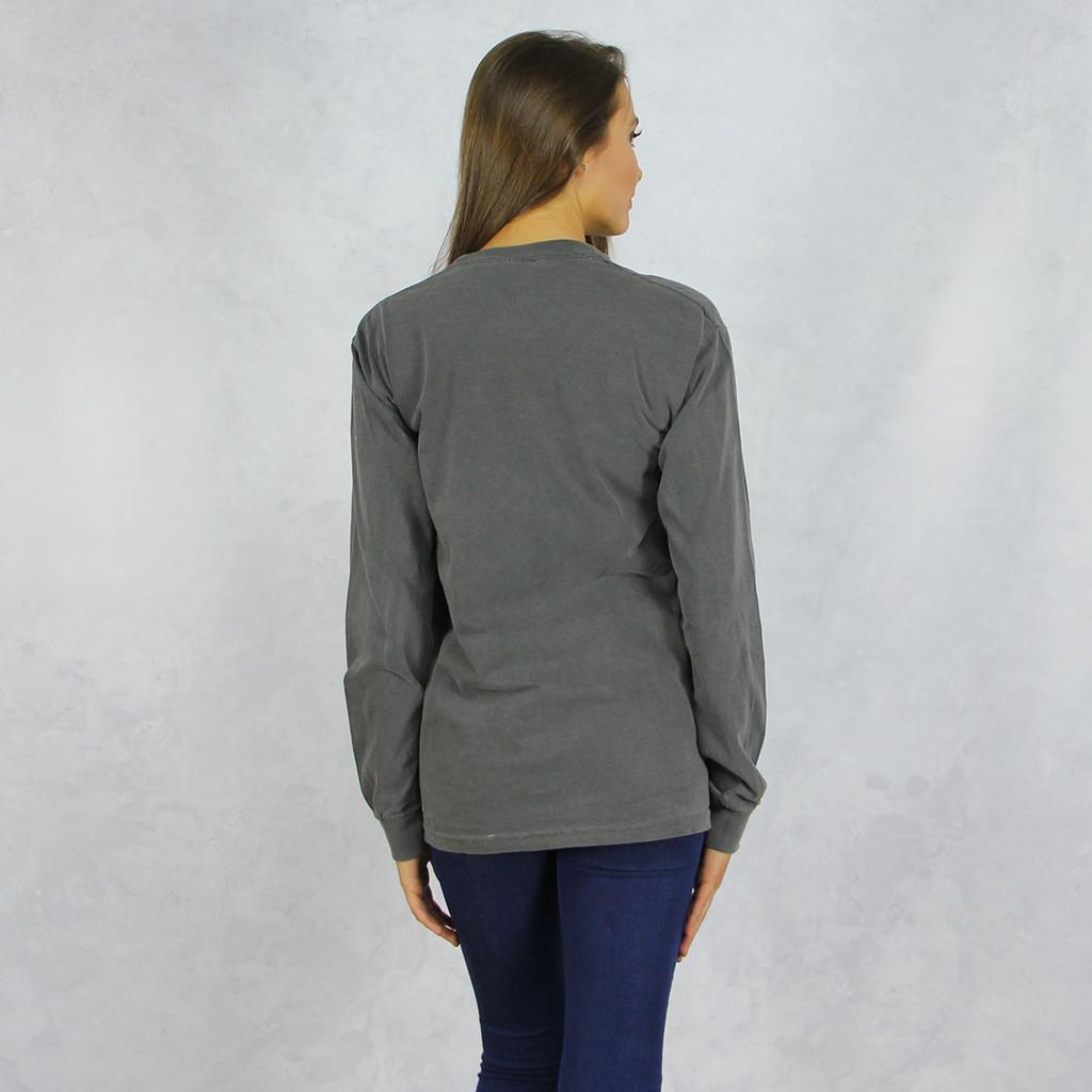 Kappa Alpha Theta Comfort Colors Long Sleeve T-Shirt in Dark Gray  Back