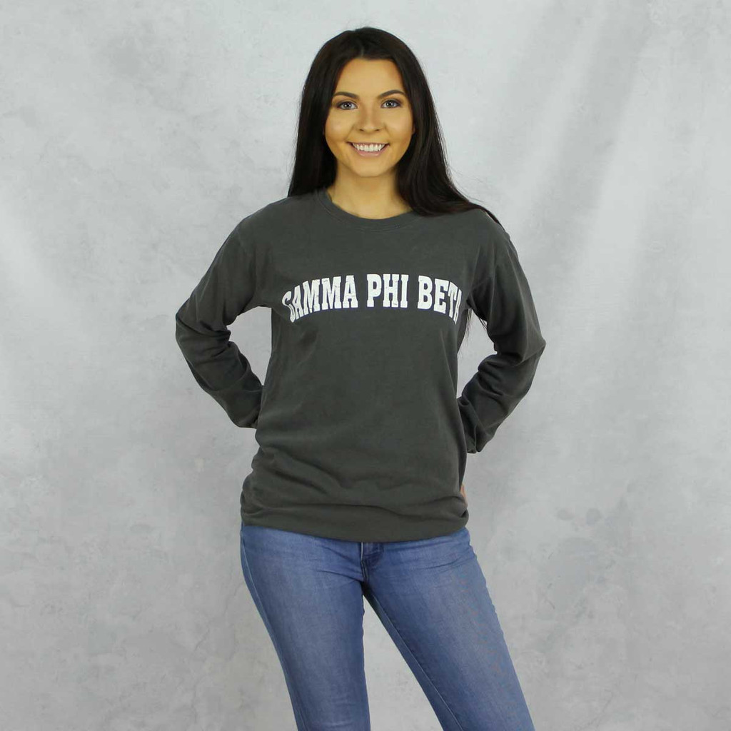Gamma Phi Beta Comfort Colors Long Sleeve T-Shirt in Dark Gray