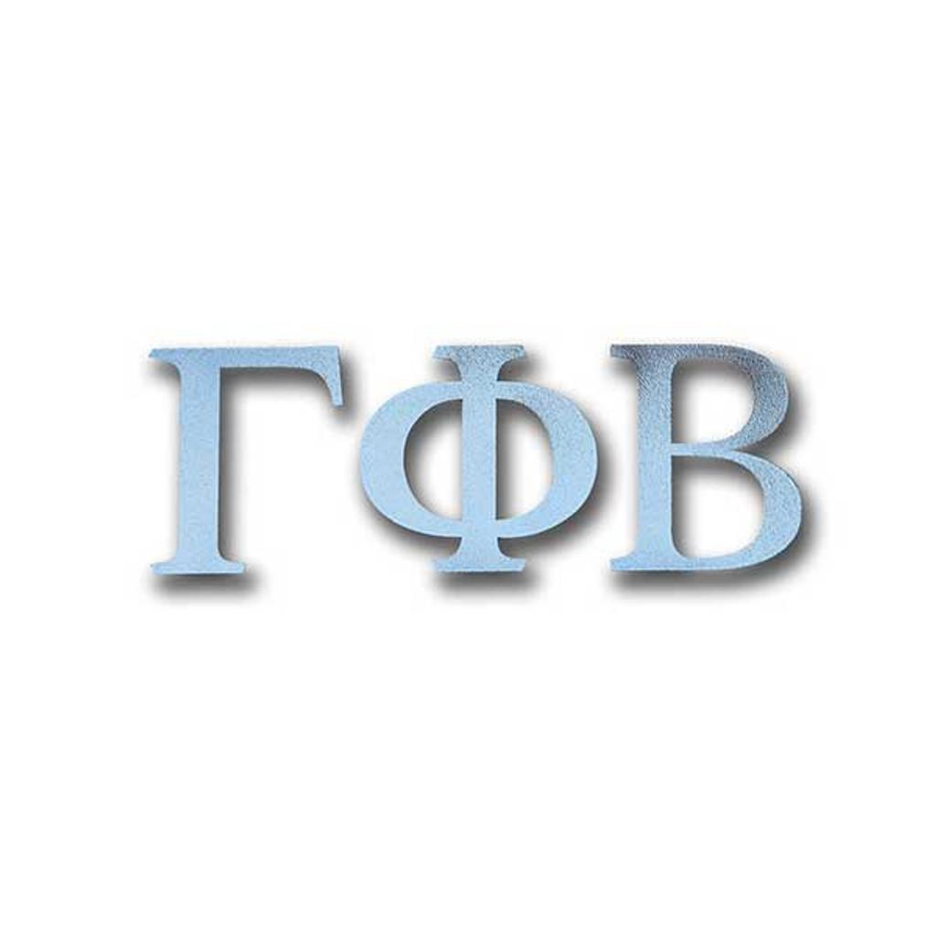 gamma phi beta letter sticker in silver