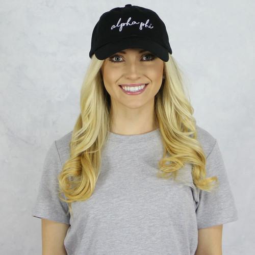Alpha Phi Dad Baseball Hat in Black