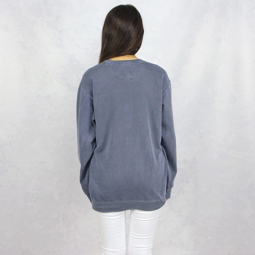 Alpha Phi Comfort Colors Embroidered Sweatshirt in Blue Back