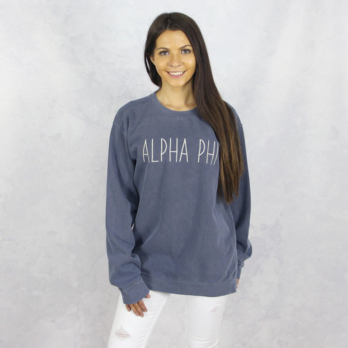 Alpha Phi Embroidered Sweatshirt in Blue by Comfort Colors