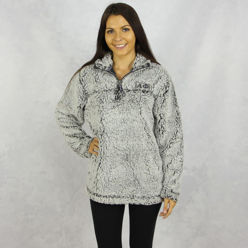 Alpha Phi Quarter Zip Sherpa in Gray
