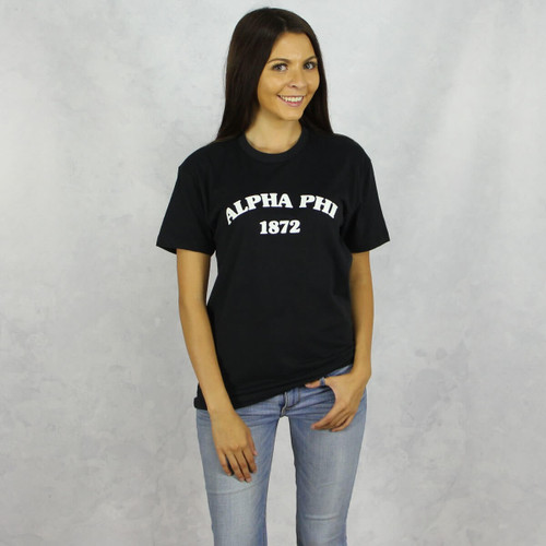 Alpha Phi Short Sleeve T-Shirt in Black